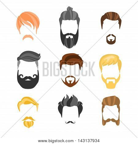 Male Hairstyle Constructor For Face Hipster Collection.Hair, Beard And Moustache Style Design Templates