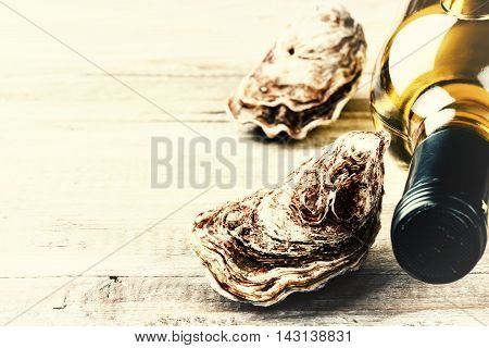 Fresh oysters with white wine bottle. Food background with copyspace
