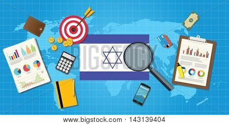 isreal jewish middle east economy economic condition country with graph chart and finance tools vector graphic illustration