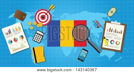republic of chad economy economic condition country with graph chart and finance tools vector graphic illustration