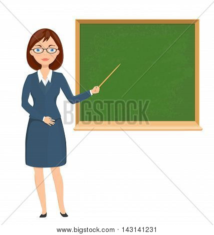 Young female teacher pointing on chalckboard. education theme cartoon illustration. vector