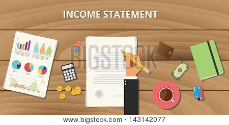 income statement report analysis illustration with businessman signing a paper document