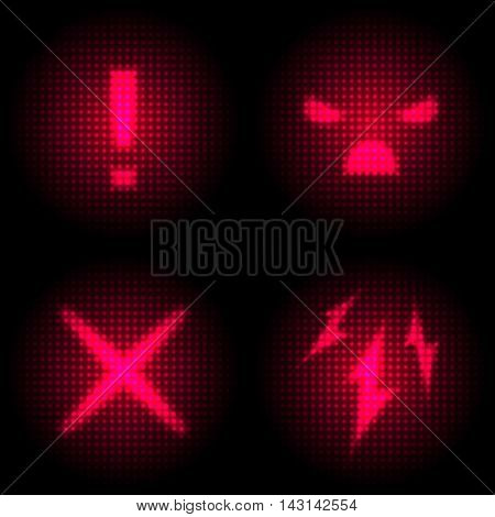 Set of Danger Icon with Retro Screen Effect. Neon and Laser Style Display. Vector illustration EPS10.