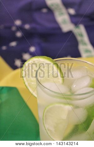 Fresh Lime Caipirinhas On Brazilian Flag