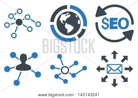 Seo Link Building vector icons. Icon style is bicolor smooth blue flat symbols with rounded angles on a white background.