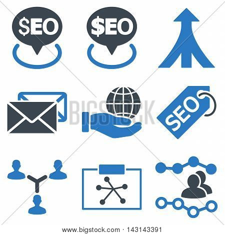Seo vector icons. Icon style is bicolor smooth blue flat symbols with rounded angles on a white background.