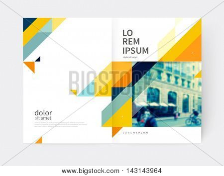 Minimalistic Brochure design. Annual report cover template. a4 size. Blue, yellow and gray diagonal lines & triangles. vector-stock illustration