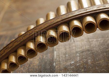 Pan flute instrument close up