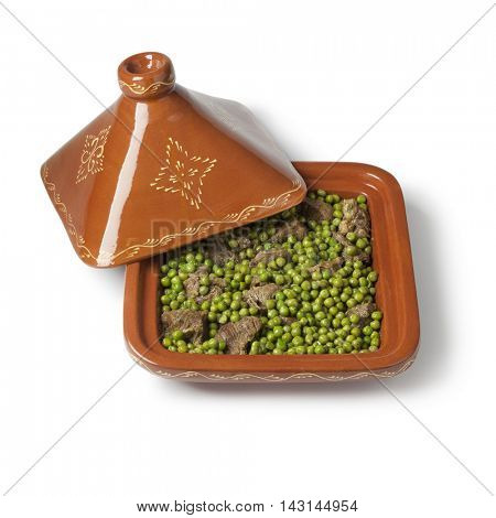 Traditional  square Moroccan tajine with meat and green peas on white background
