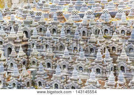 Buddist stupa background, ancient buddhist temple panorama