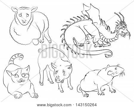 Five Chinese calendar animals: cat dragon rat pig sheep. For your convenience each significant element is in a separate layer. eps10
