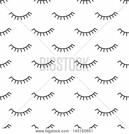 Abstract pattern with closed eyes. Cute eyelashes background illustration. Black and white fashion design for textile, wallpaper, fabric etc.