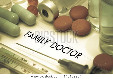 Family doctor. Treatment and prevention of disease. Syringe and vaccine. Medical concept. Selective focus