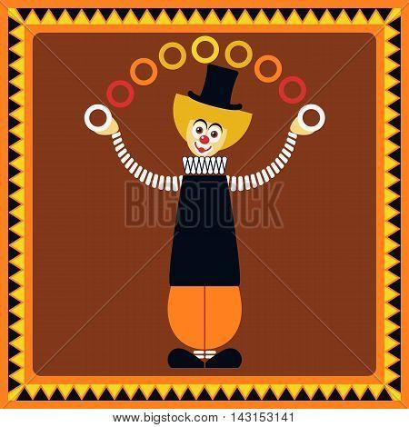 Funny clown. Juggler rings. Flat style. Vector illustration