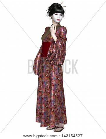 Fantasy illustration of a young Japanese woman wearing geisha makeup and a flower pattern kimono, digital illustration (3d rendering)