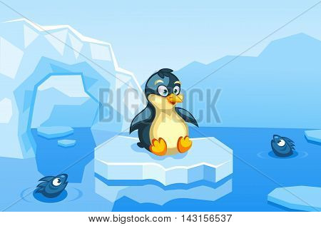 Illustration of a penguin on an arctic vector background with ice floes, icebergs, water and fishes
