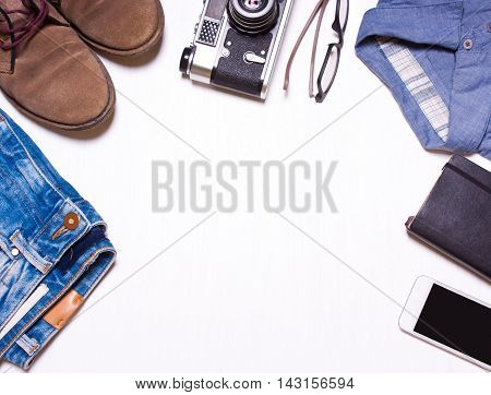 hipster men's clothes and accessories.View from above with copy workspace.Lookcollage menswear.