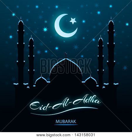 Eid Al Adha, Islamic religion celebration, night vector background. Mosque, Moon and Star Islamic Symbol.