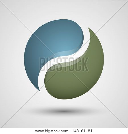 Yin Yang symbol. Vector icon. Contains transparent objects.