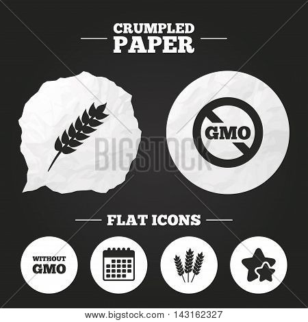 Crumpled paper speech bubble. Agricultural icons. Gluten free or No gluten signs. Without Genetically modified food symbols. Paper button. Vector