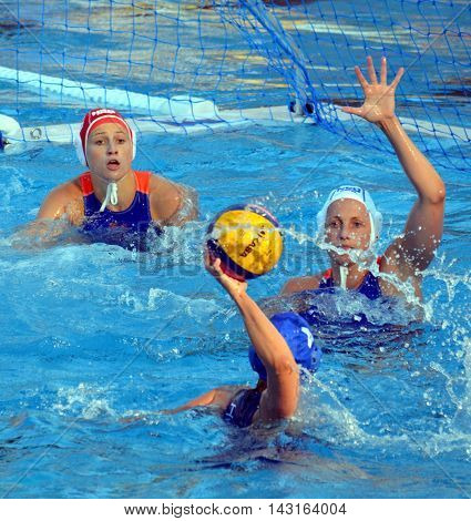 Budapest, Hungary - Jul 16, 2014. Dutch team defending against the hungarian team. The Waterpolo European Championship was held in Alfred Hajos Swimming Centre in 2014.
