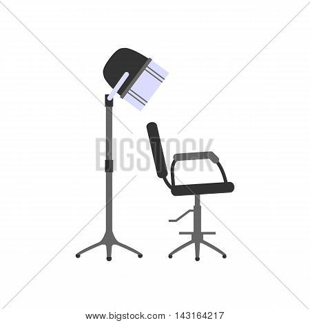 Hairdrier and chair. Flat design. Isolated objects on white background. Vector illustration.