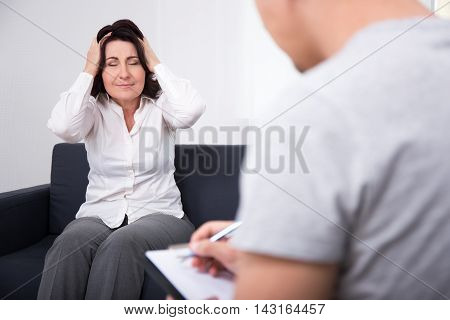 Psychotherapy - Psychologist And Crying Woman Patient