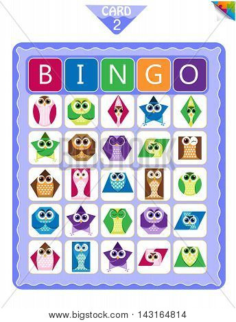 Printable educational bingo game for preschool kids with shapes in the form of owls. Bingo cards. Cartoon vector illustration.