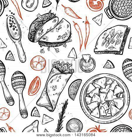Hand Drawn Vector Background - Mexican Food (tacos, Nachos, Burritos, Chili Pepper, Avocado, Sauce,