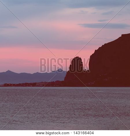 Landscape sea and mountan Terracina Lazio Italy