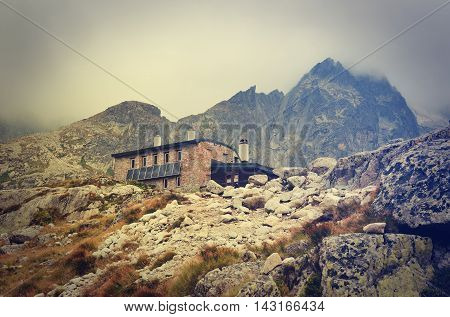 Mountain chalet in vintage style. High-mountain hostel called Teryho Chata in the valley of the Five Spis Lakes in Tatra mountains Slovakia.