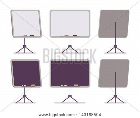 Set of white and black boards on the stand from the different sides isolated against white background. Cartoon vector flat-style concept illustration