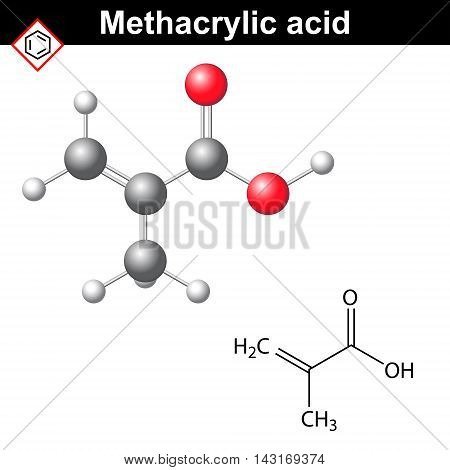 Methacrylic acid molecule 2d and 3d illustration of chemical structure vector isolated on white background eps 8