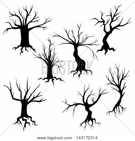 Collection of spooky trees silhouettes. Tree with protruding roots of vector isolated on white.