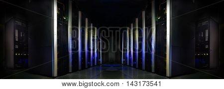 symmetrical futuristic modern server room in data center