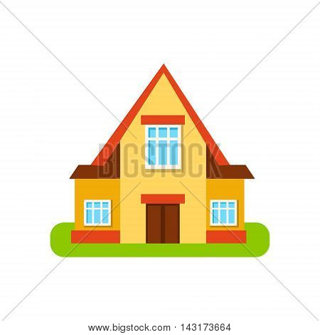 Three Windows Suburban House Exterior Design Primitive Geometric Flat Vector Drawing Isolated On White Background