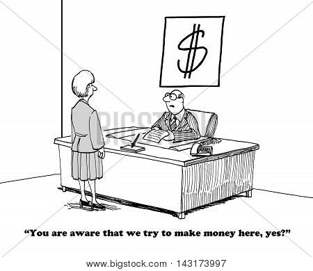 Business cartoon showing a boss who has a dollar sign above his desk.