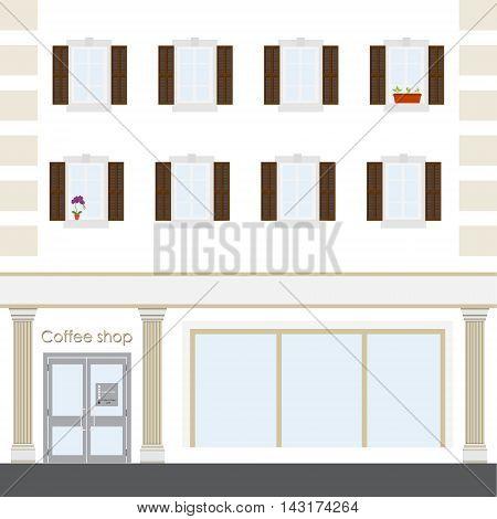 Vector illustration coffee shop facade building. Facade of a coffee shop store or cafe.