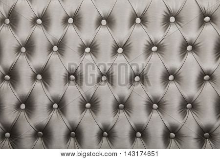 Silver Capitone Tufted Fabric Upholstery Texture