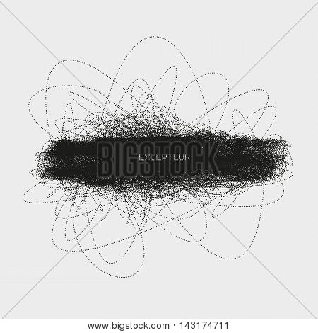 Abstract knotty structure made by shuffled round particles. Swarm of dots. Tangled random halftone composition. Decorative element of design. Background for web or print products.