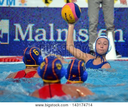 Budapest, Hungary - Jul 16, 2014. One against three. Russia - Spain 10-9. The Waterpolo European Championship was held in Alfred Hajos Swimming Centre in 2014.