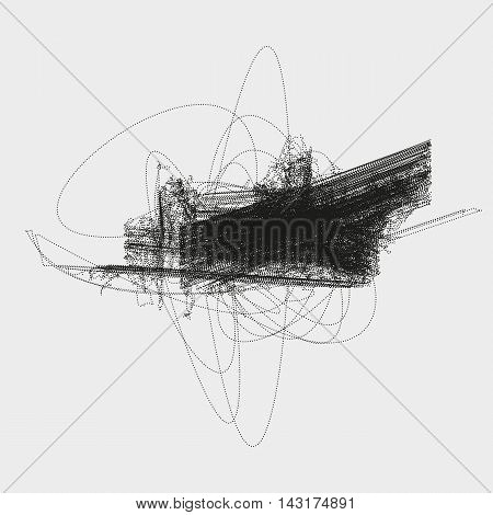 Abstract knotty structure made by shuffled round particles. Swarm of dots. Random chaotic composition in avant-garde aesthetic. Element of design.