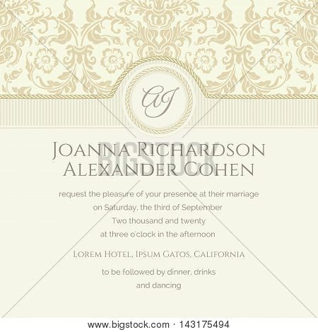 Invitation and announcement card with golden damask. Classical wedding invitation. Monogram background with rope.