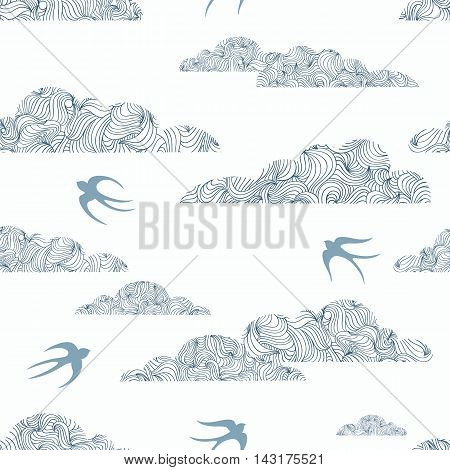Vector seamless pattern with stylized wavy clouds and swallows in shades of blue. White- blue seamless background