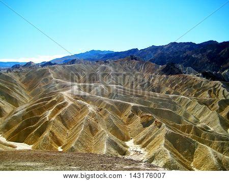 Yellow badlands in Zabriskie Point at Death Valley National Park (California, USA)