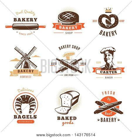 Bakery shop emblem set with best bakery shop baked goods descriptions par example vector illustration