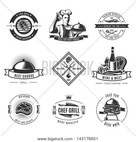 BBQ vintage label set with fish grill fresh solutions only best steaks and ext descriptions vector illustration