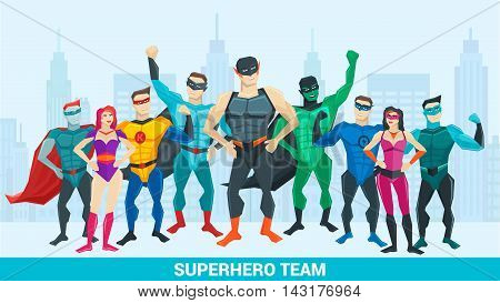 Super hero composition with group of superheroes of different sex against city backdrop vector illustration