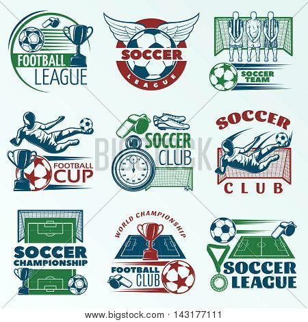 Soccer colored emblems with players sports equipment trophies referees objects on pale blue background isolated vector illustration