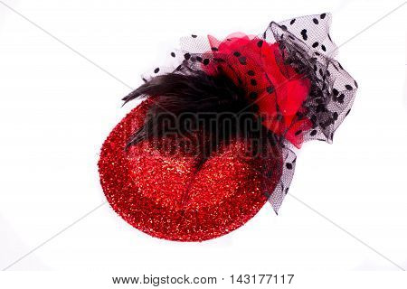 Red woman hat isolated on white background.